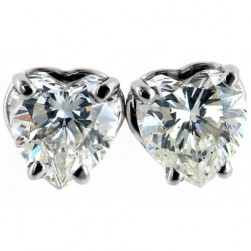 HEART CUT LAB CREATED  DIAMOND STUDS