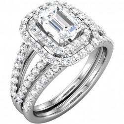 Octavia Emerald Cut Halo Created Diamond Engagement Ring Set