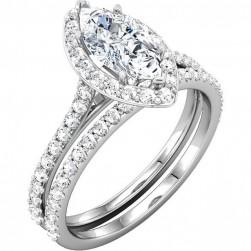 Bianca Halo Engagement Ring & Matching Wedding Band