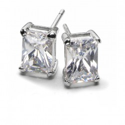 EMERALD CUT LAB CREATED DIAMOND STUDS