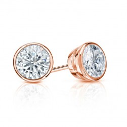 BEZEL CUT LAB CREATED DIAMOND STUDS