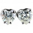 HEART CUT LAB CREATED  DIAMOND STUDS