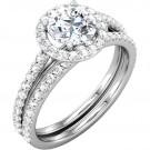Zarah Halo Engagement & Matching Wedding Band