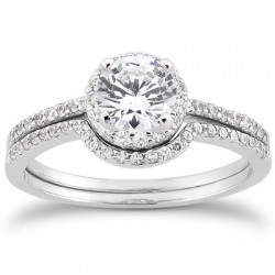 Alessandra Halo Engagement Ring and Band