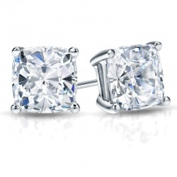 CUSHION CUT LAB CREATED DIAMOND STUDS
